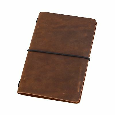 Pocket Travelers Notebook - Leather Journal Cover for Field Notes Moleskine NEW