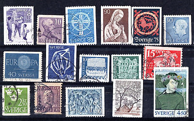 Sweden X 16 Collection Used Stamps.