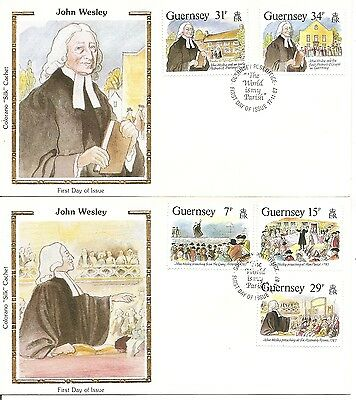 Guernsey SC # 362-366 Visit Of John Wesley  FDC. 2 Covers  Colorano silk Cachet.