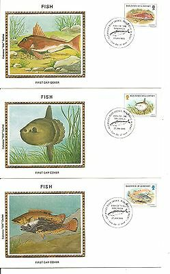 Guernsey SC # 308-312 Indigenous Fish FDC .5 Covers Set.  Colorano silk Cachet.