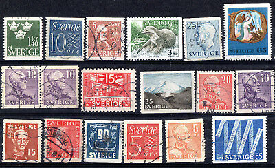 Sweden X 18 Collection Used Stamps.