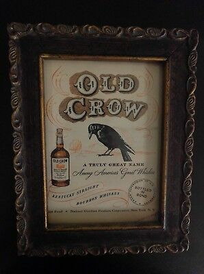 Old Crow Bourbon Whiskey Vintage Framed Advertisement from 1950s