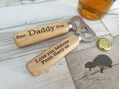 Personalised Engraved Wooden Bottle Opener Beer xmas birthday  gift wbo4