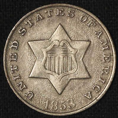 1853 Silver Three-Cent Piece - Free Shipping USA