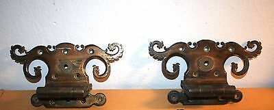 Large Antique Pair Of Ornate Heavy Cast Brass Hinges