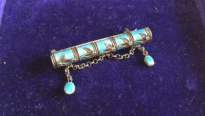 Unusual Victoria Era Chinese Or Norwegian Turquoise Enamel Silver Bamboo Brooch