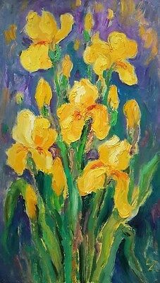 """lz16 Original Still Life Painting Oil/Canvas 60x 35cm 23.6"""" x 13.7"""" Signed Lily"""