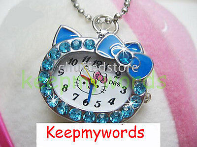 DBS Kitty Cat Crystal Pendant Quartz Pocket Necklace Watch Montres Blue