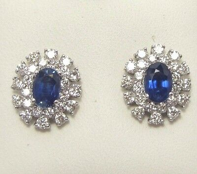 18Ct White Gold Sapphire And Diamond Halo Cluster Earrings