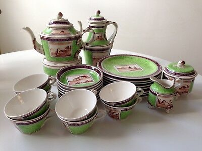 Vintage Green Bassanello Italian Hand Painted China: Rare 29 Piece Matched Set