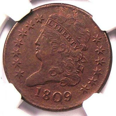 1809 Classic Head Half Cent 1/2C - NGC AU Details - Rare Certified Coin