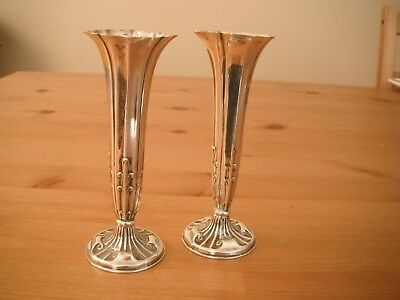 Matching pair of Victorian silver posy vases, Birmingham 1898 Isaac Manheim