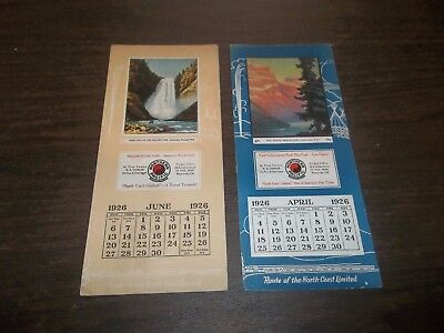 Vintage Lot Northern Pacific Railroad Calendar Ink Blotters 1926 Advertising!