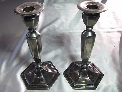 Vintage Pair Homan Mfg Co Quadruple Silver Plate Tall Candlesticks Holders 1161