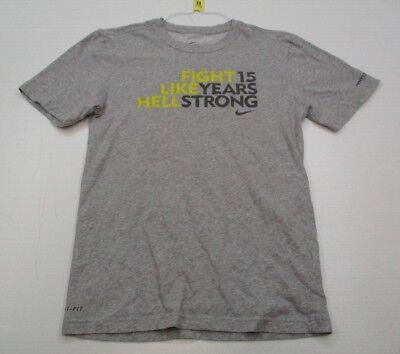 NIKE #T2736 Men's Size S Athletic Cotton DRI-FIT LIVESTRONG Gray Shirt