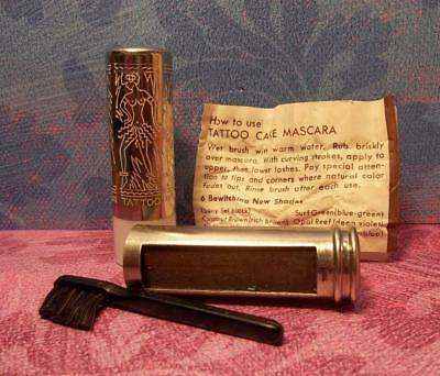 rare 1930's vintage TATTOO Art Deco Mascara case Engraved TOPLESS Dancing Girls