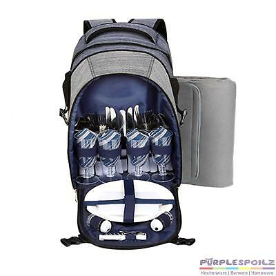 NEW THERMOS 4 PERSON PICNIC BACKPACK+BLANKET Insulated Cooler Cutlery GREY BLUE