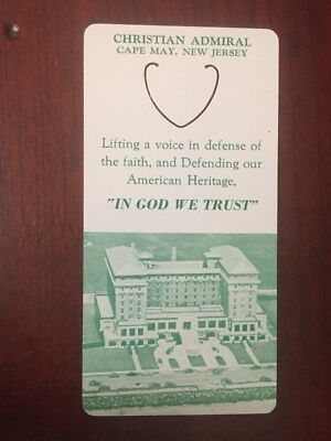 Vtg Collectible Advertising Hotel Christian Admiral Cape May Psalm 121 Bookmark