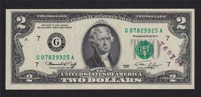USA 1976 $2 Two Dollars Bill Banknote G Series Jefferson #A2820