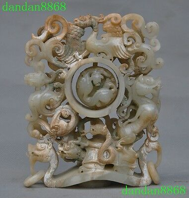 """6""""Old Chinese Buddhism Fengshui 100% Old jade snake Dragon turtle Beast statue"""