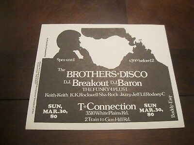 Rare Hip Hop Flyer - T-Connection.brothers Disco - Funky 4 Plus 1.buddy Esq 1980