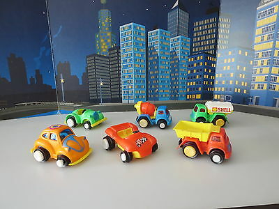 Vintage Plastic Toys Vw Bug-Dune Buggy-Shell Fuel Truck- Cement Truck,hong Kong