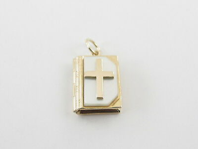 Vintage Holy Bible Charm 14k Yellow Gold Mother Of Pearl Pendant Prayer Inside