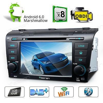 """GA7151A 7""""Android 6.0 Octa-Core Car Stereo DVD GPS Bluetooth For Mazda 3 04-09 B"""