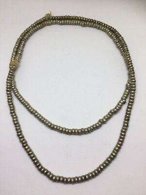 "EARLY FRED HARVEY era Navajo silver HANDMADE bead necklace Massive 18"" Long"