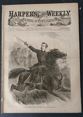 Harper's Weekly 3/19 1864  General Custer Cover   Map of the Rebellion  complete