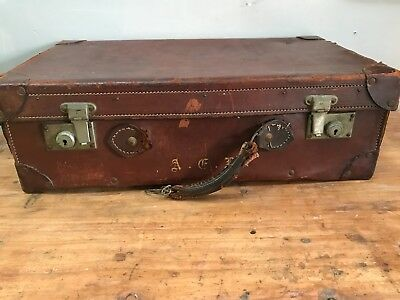 Vintage Large Brown Leather Suitcase