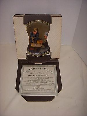 "Vintage Rockwell Collectors Plate W/ Coa - 1985 - "" A Family's Full Measure """