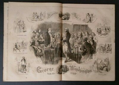 Harper's Weekly 2/27/1864 Civil War  Life of George Washington   Colt Arms Fire