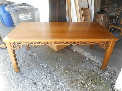 Vintage Authentic Asian Hand Carved Pierced Lattice Dining Table