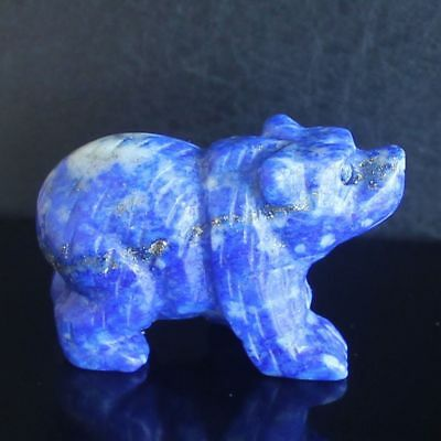 41mm  Hand carved natural lapis bear figurine animal carving  L6532
