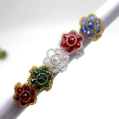 5pcs Fashion Mixed Color Crystal Beads Handwork Weave Flower Stretchable Ring