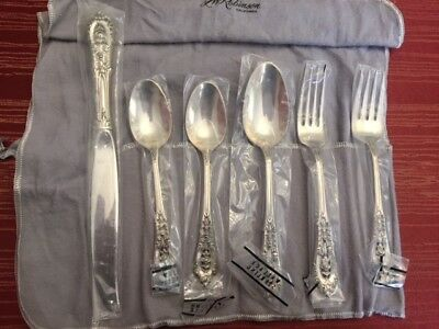 Wallace Sterling Silver Rose Point 6-Piece Place setting - Unopened - No Mono