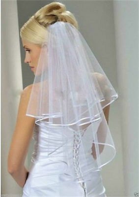 HOT 2T New white Wedding Bridal veil elbow Length Satin Edge with comb