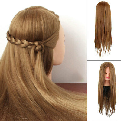 "26"" 30% Human Hair Practice Hairdressing Training Head Mannequin Doll + Clamp"
