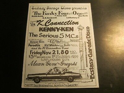 Rare Hip Hop Flyer- Funky Four Plus 1 - Mean Gene - E.z. Mike - The Serious 5