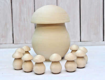 Small wooden mushrooms Wooden Toy Sorting game Montessori Inspired