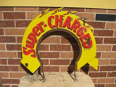 Rare Shell SUPERCHARGED petrol bowser wreath enamel sign.