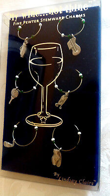Boxed Set of 6 GOLF Pewter Wine Marker Charms Gift Party Office BOXED