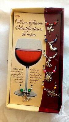 Boxed Set of 6 Wine Glass Marker Charms Mixed Nature Gift party Office BOXED