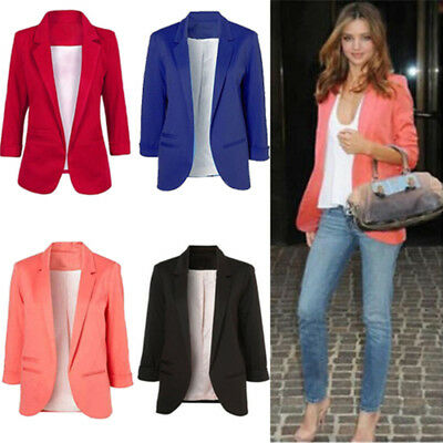 Autumn Winter Women Casual Boyfriend No Buckle Business Suit Jacket Blazer Coat