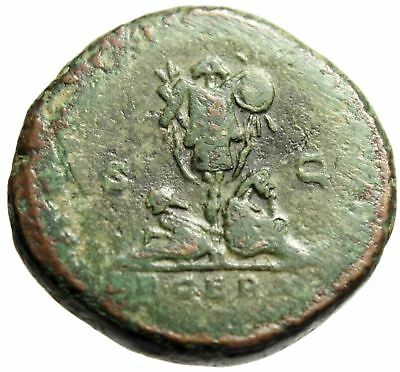 """Commodus AE Sestertius """"Two Bound Captives Flanking Trophy"""" Rome RIC 1573"""