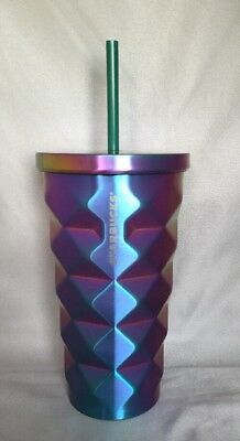 Starbucks Iridescent Studded Blue Purple Stainless Steel Cold Cup 16 Oz 2015
