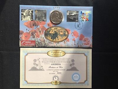 stamp cover soldiers Britain at war millennium countdown  stamps and crown coin