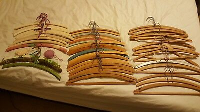 Lot of 48 vintage wooden clothing hangers