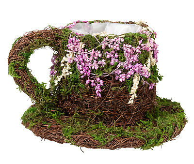 Rattan And Moss Flower Pot Teacup Floral Table Decoration Wedding Flowers Girl
